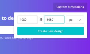 Create custom sized Canva design