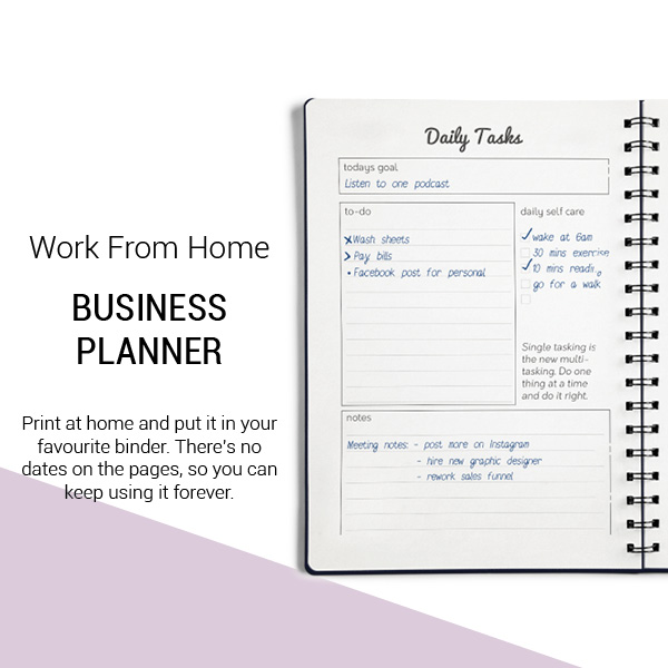 Work from home business planner