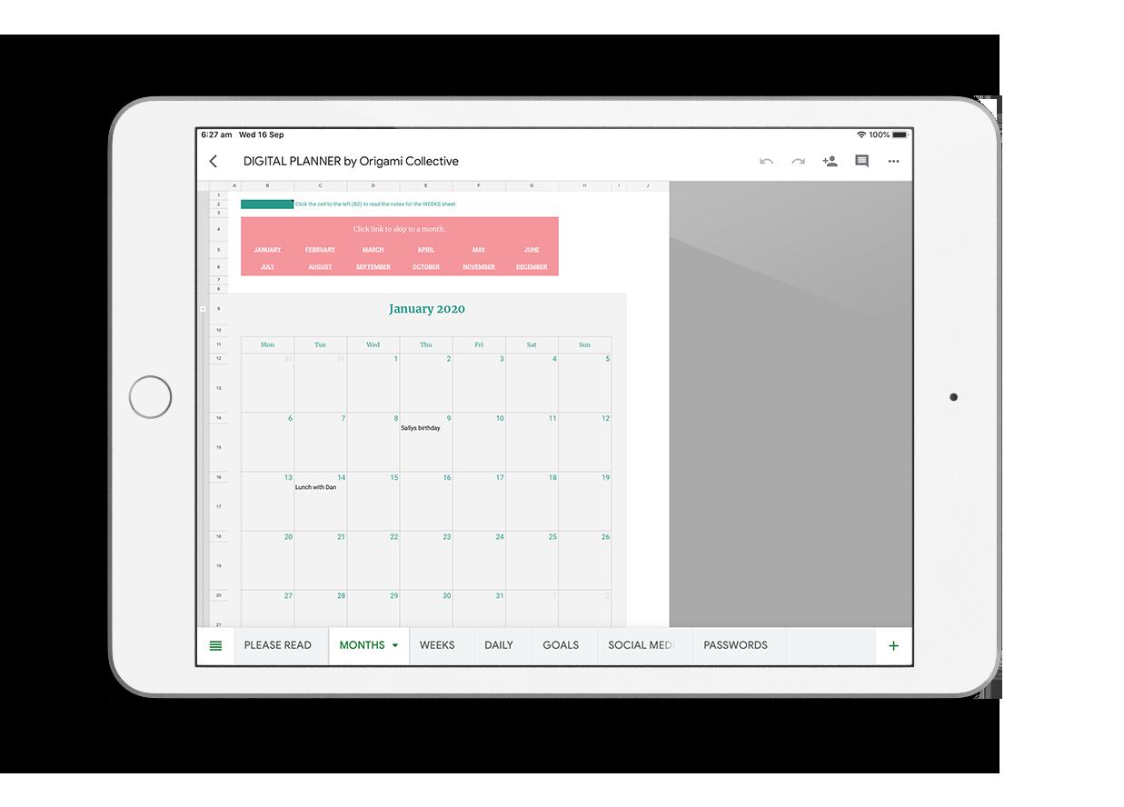 Digital business planner months