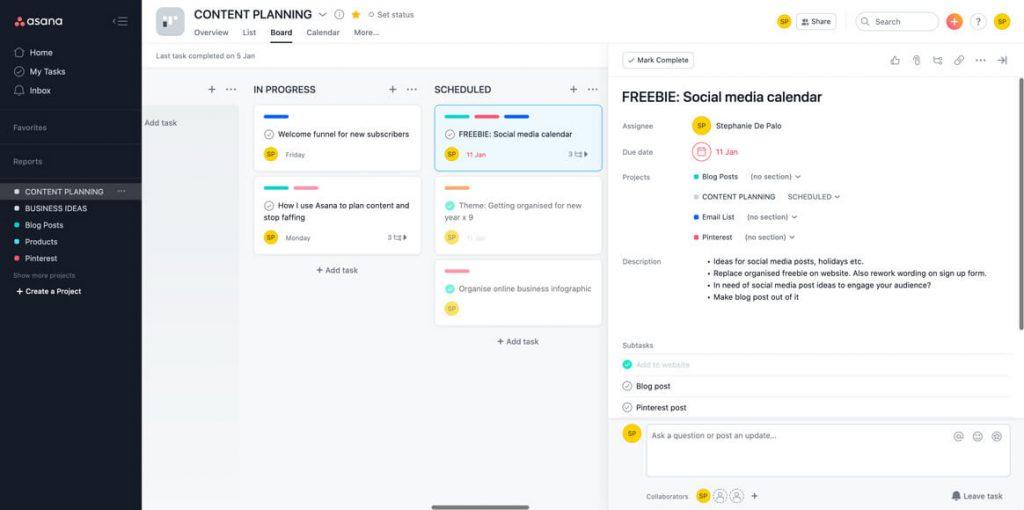 Social media post planning in Asana