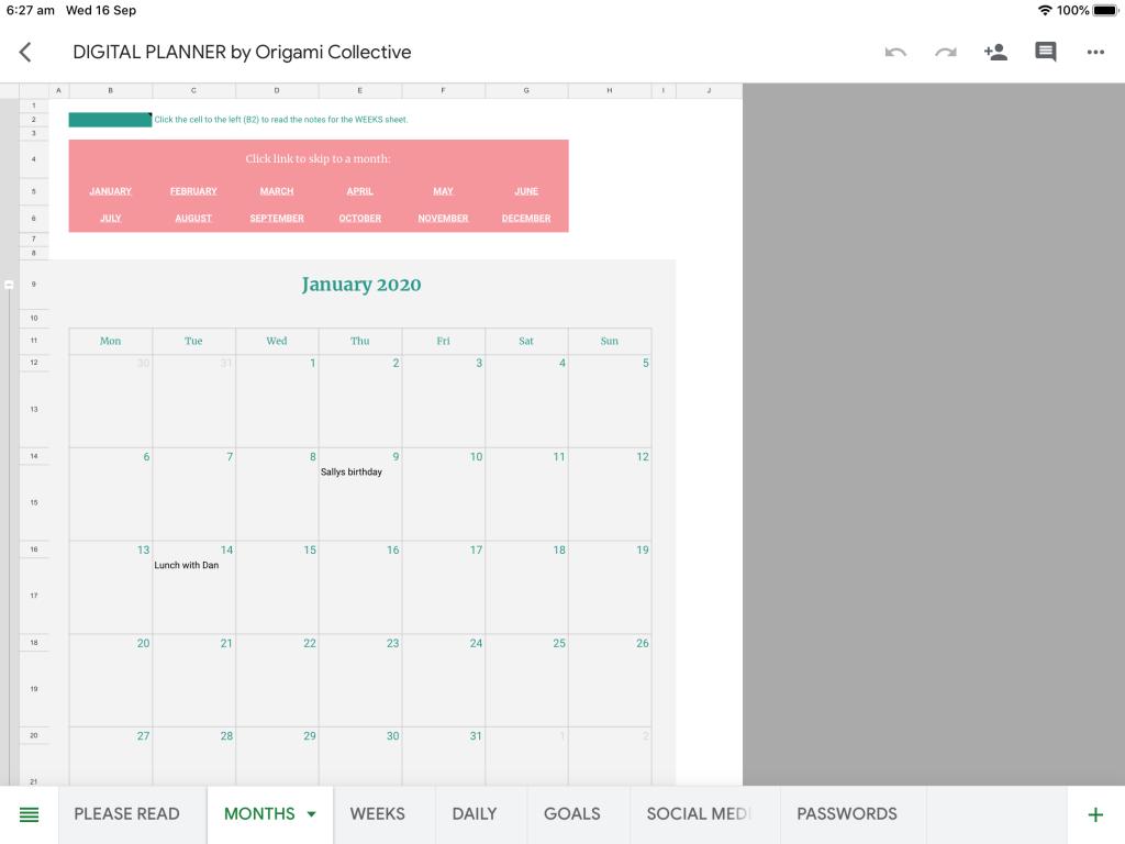 Months digital planner
